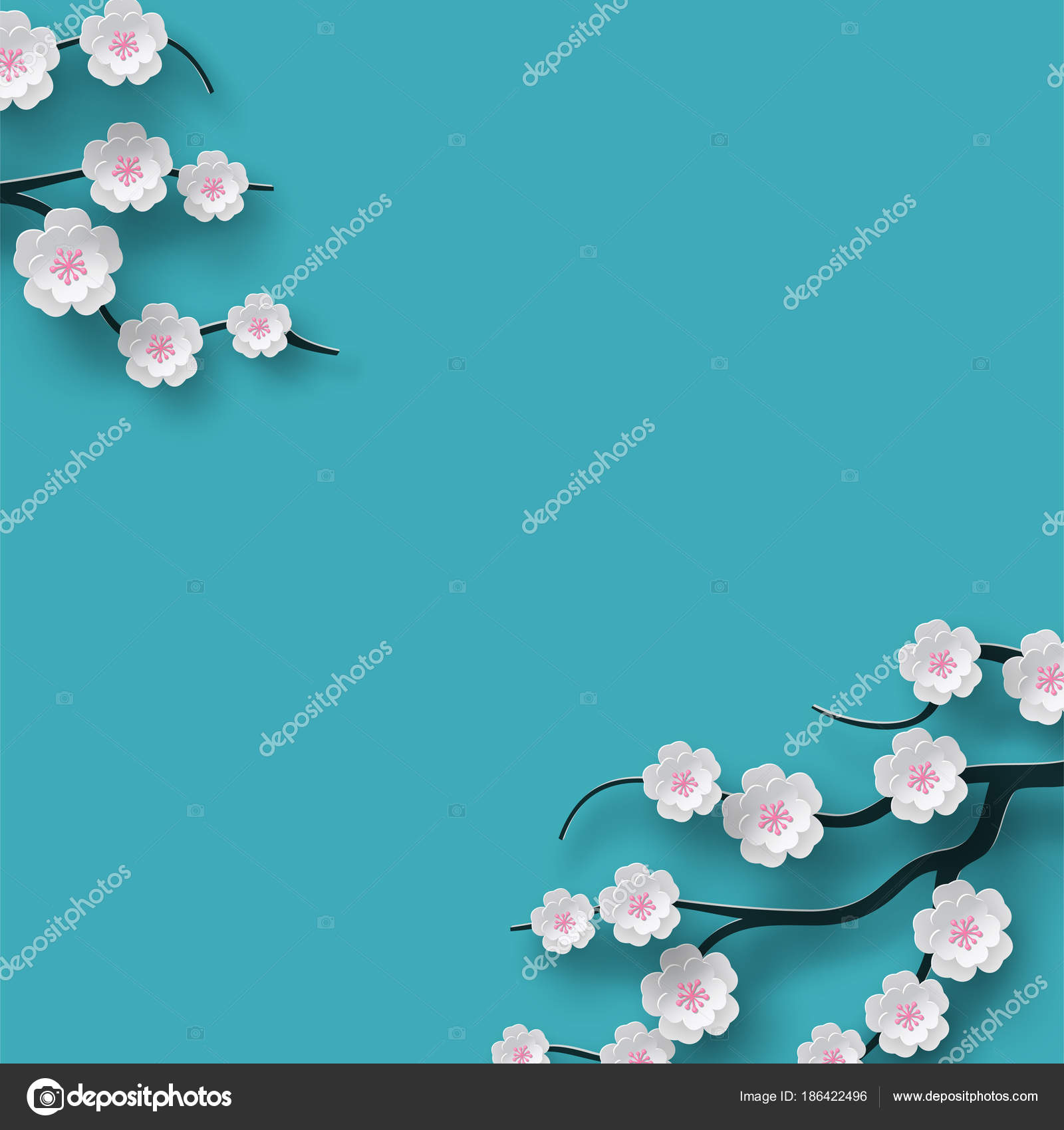 Floral Background Decorated Blooming Cherry Flowers Branch Bright