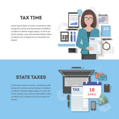 Set of horizontal banners tax with place for text