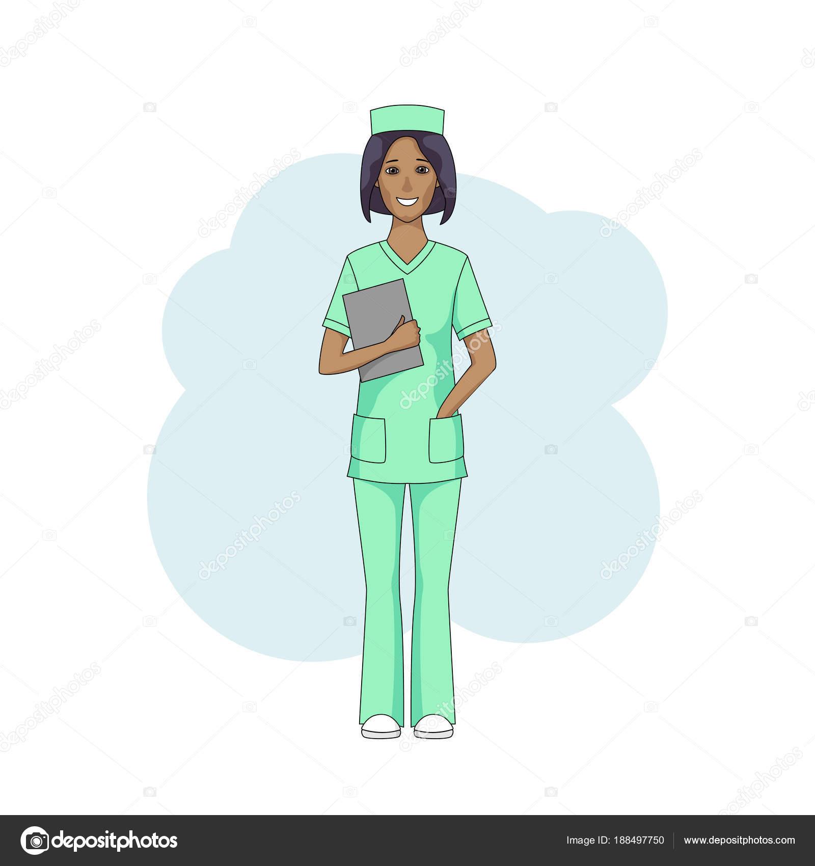 Uniforme Enfermera Verde Enfermera Negra Mujer En Uniforme