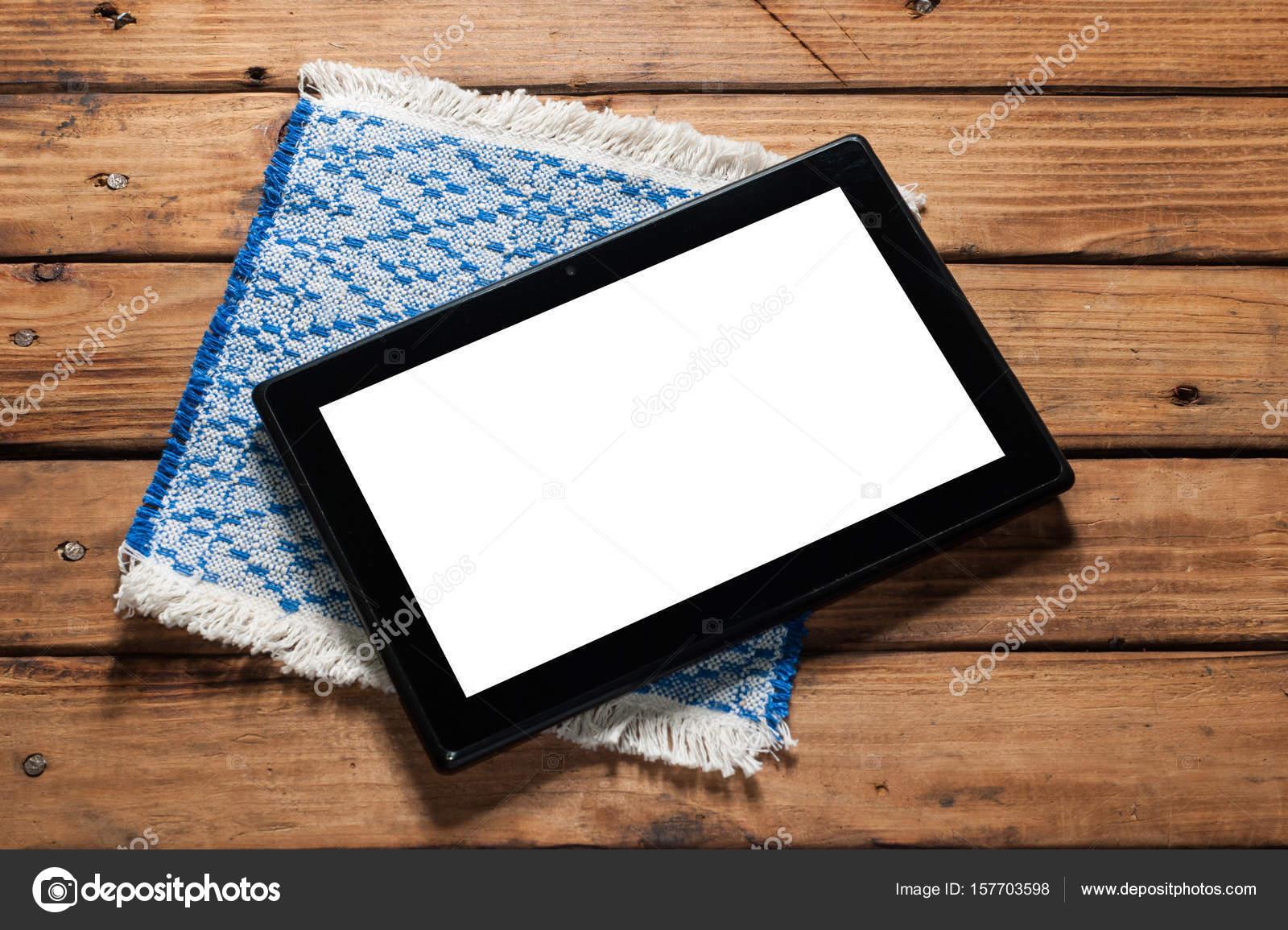 Digital tablet on wooden background — Stock Photo © vulkanov11@gmail ...