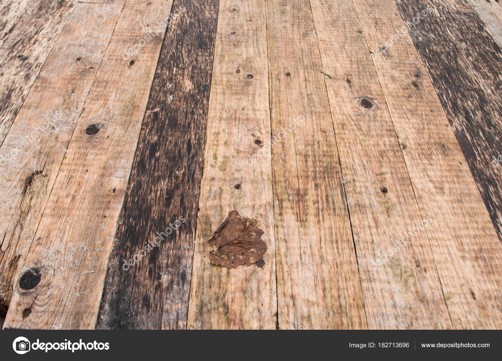 old wooden table background shot down from the boards top view