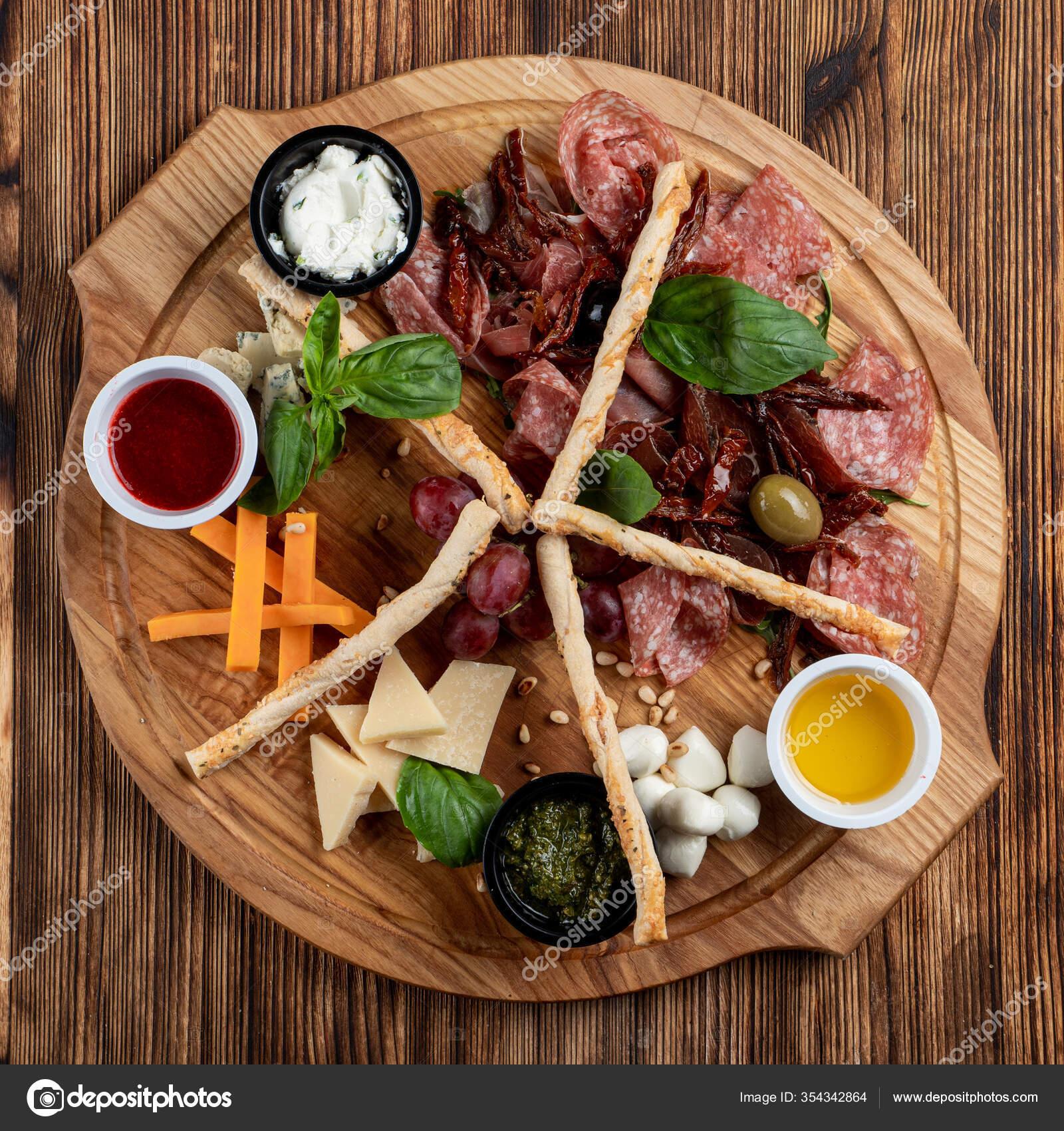 Wine Platter Assorted Snacks Grissini Cheese Sliced Meat Nuts Wooden Stock Photo Image By C Tkachenkoalexx Mail Ru 354342864