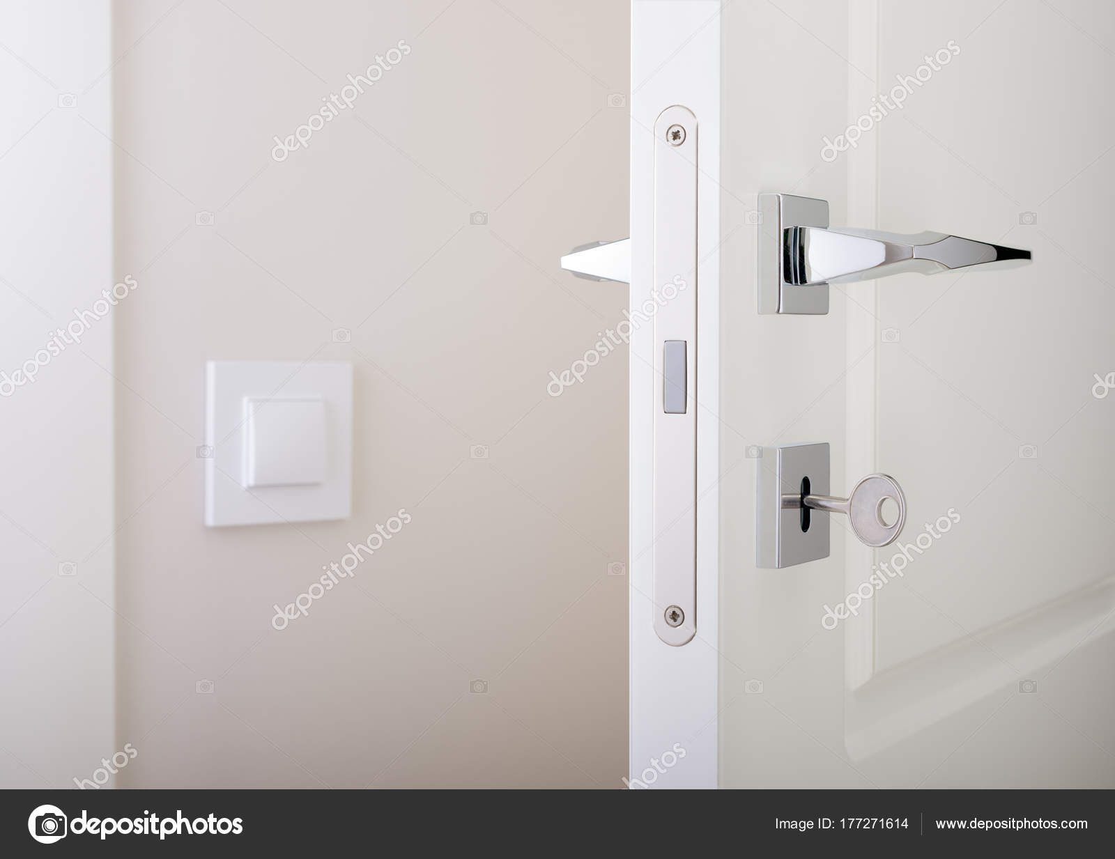 Closeup Of White Interior Doors Lock With Key And Chrome Door