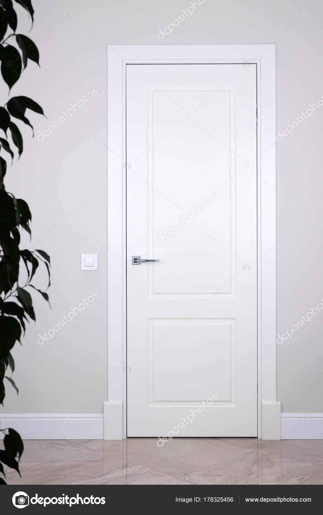 Porte blanche et switch sur un mur gris clair. Les éléments ...