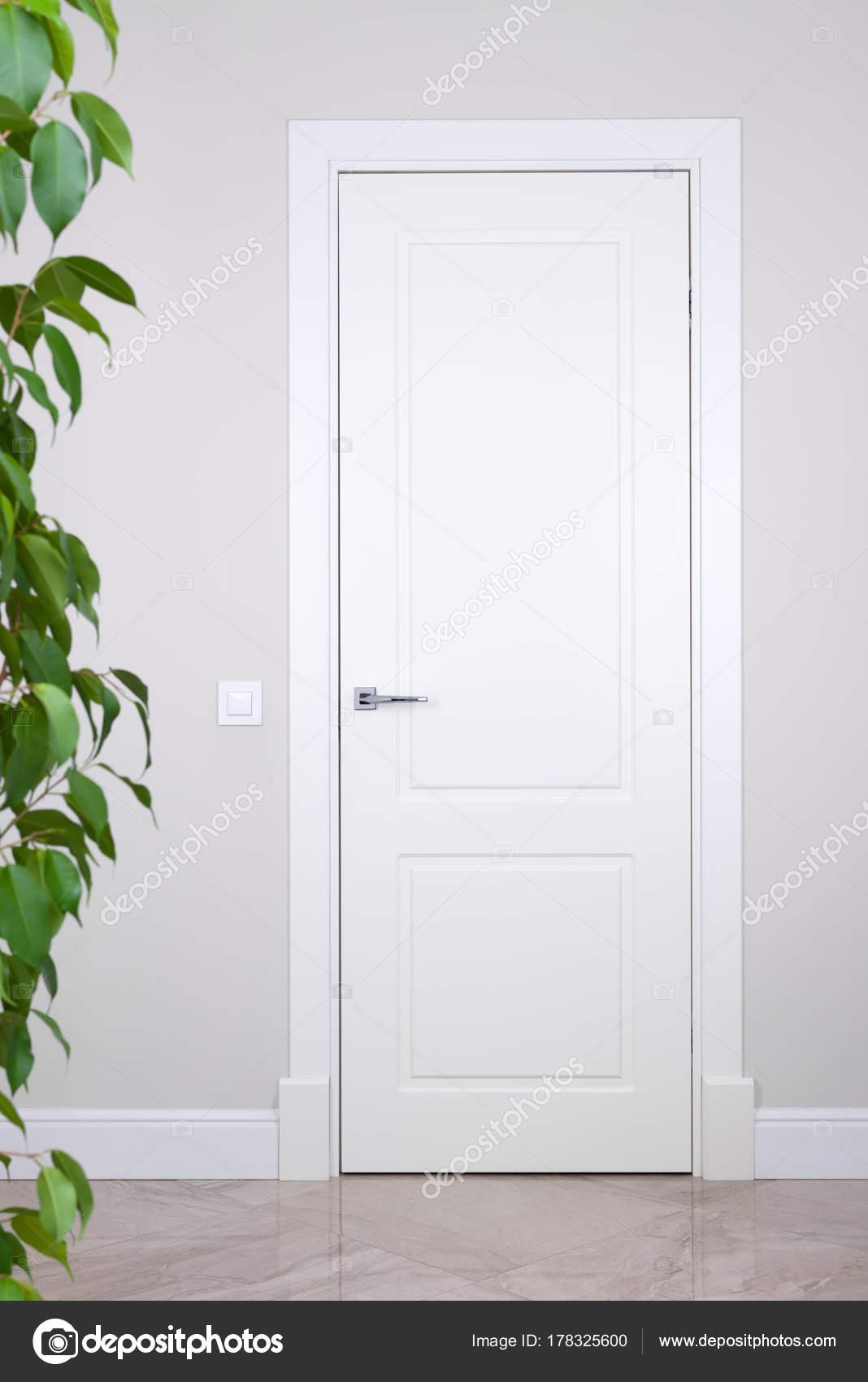 Porte blanche et switch sur un mur gris clair. Les éléments lumineux ...