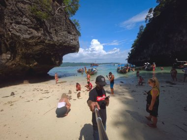 Traveller Taking Selfie At Monkey Beach Phi Phi Island