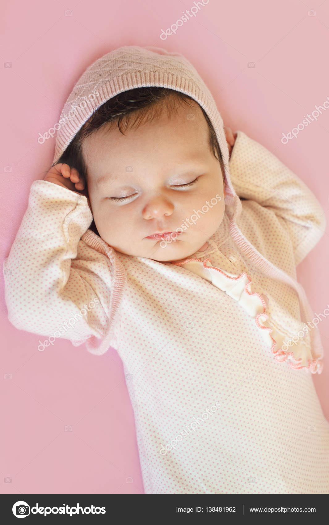 newborn sweet cute baby girl face sleep — stock photo © nfbiruza