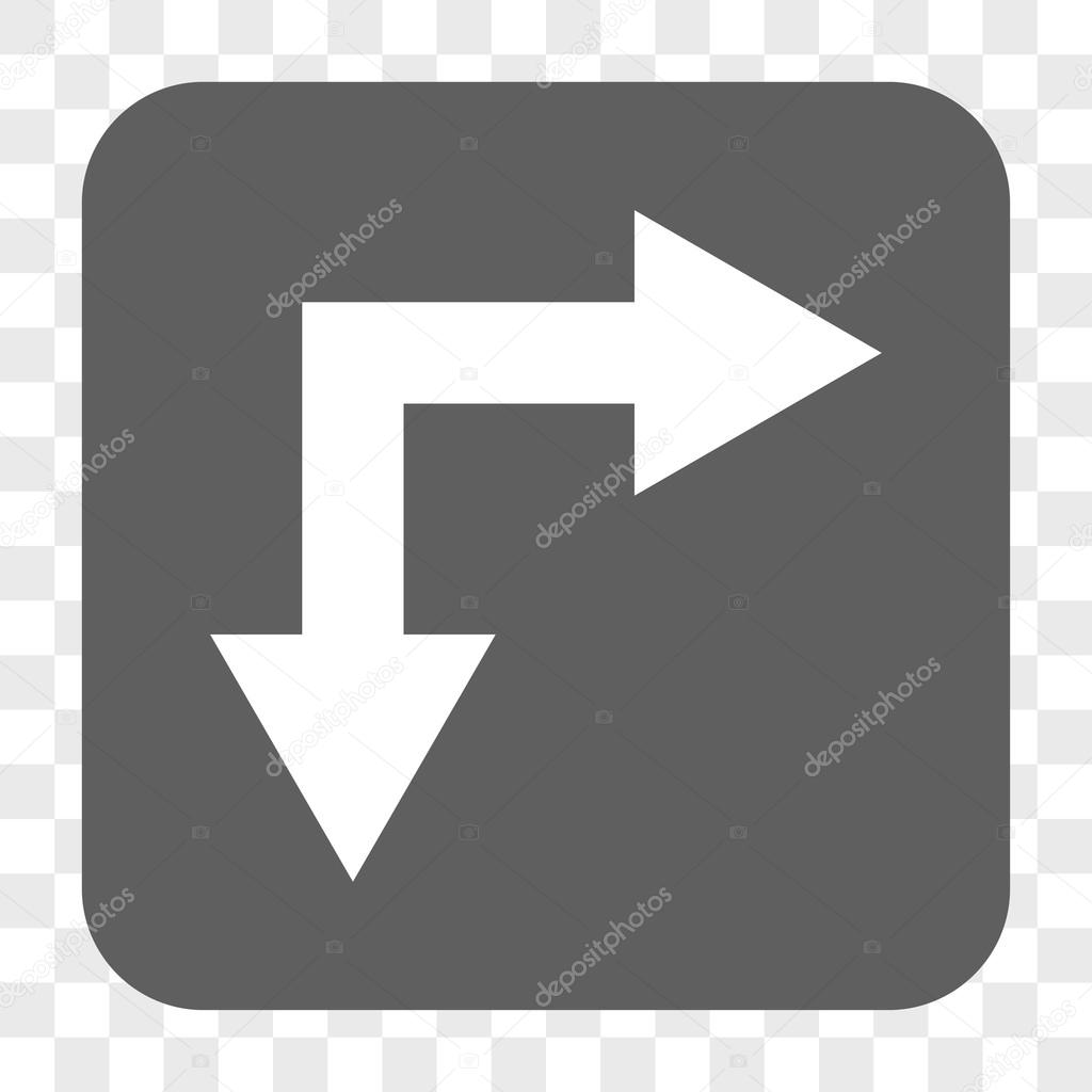 Bifurcation Arrow Right Down Rounded Square Button Stock Vector
