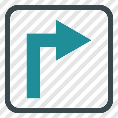 Turn Right Vector Icon In a Frame