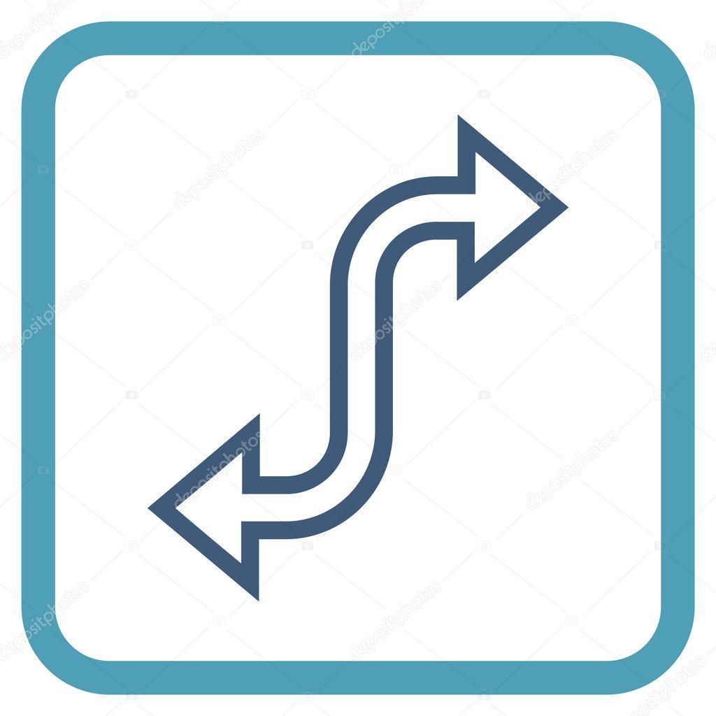 Cambio curvas flecha Vector icono en un marco — Vector de stock ...