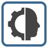 Kyborg Gear vektorové ikony v rámečku