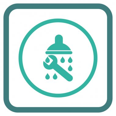 Shower Plumbing Vector Icon In a Frame