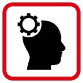 Intelekt Gear vektorové ikony v rámečku