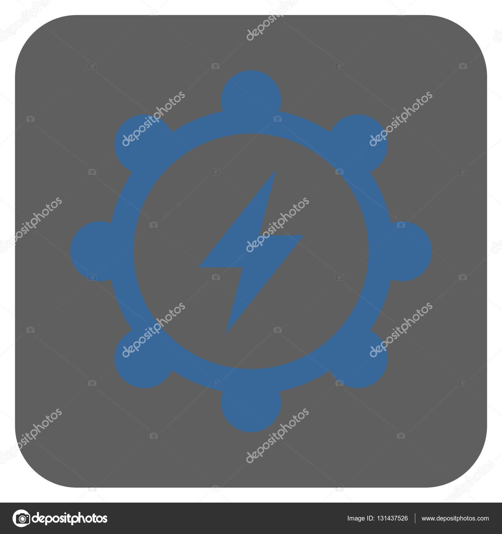 Elektrische Energie Zahnrad abgerundete quadratische Vektor Icon ...