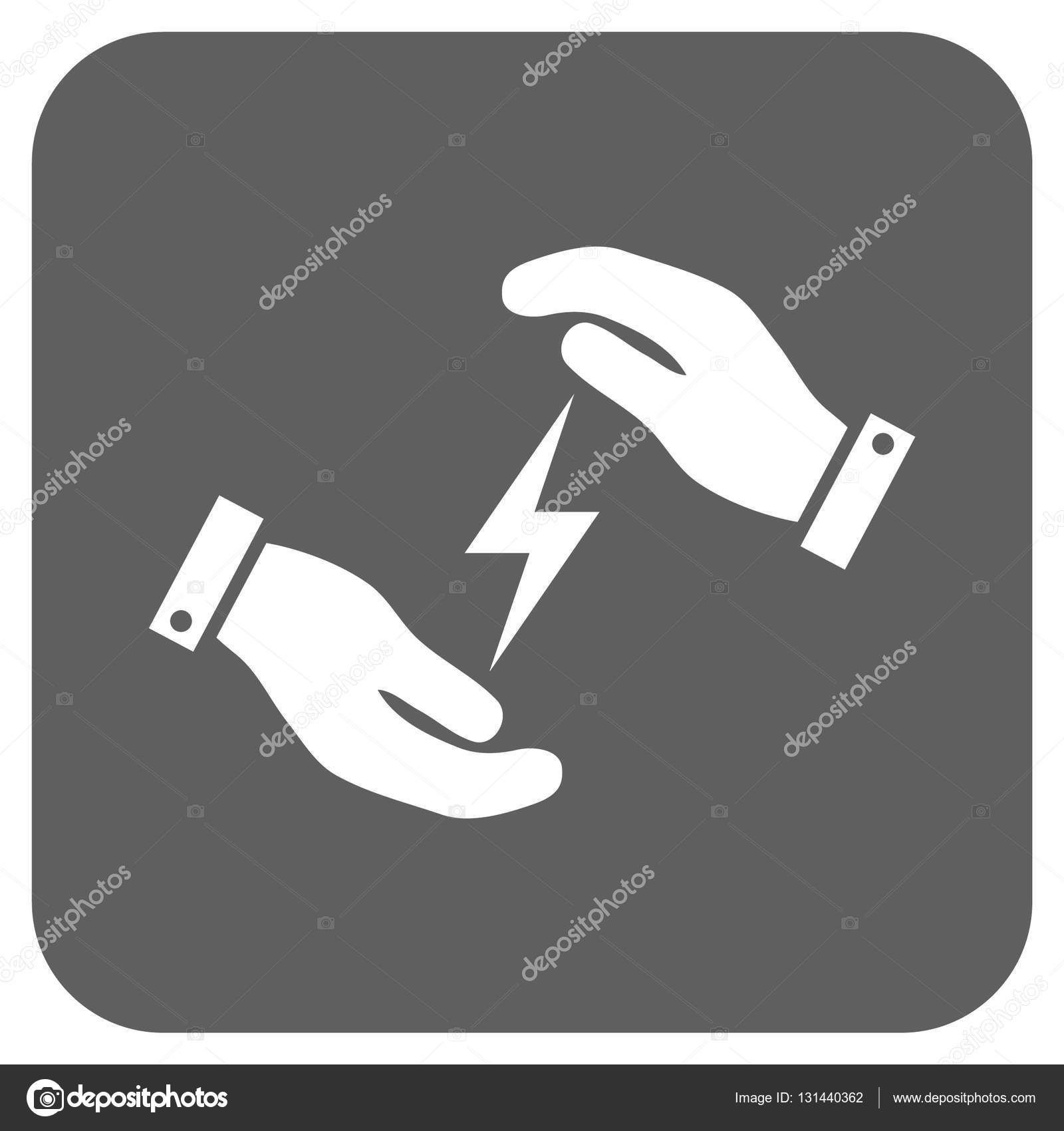 Stromversorgung Pflege Hände abgerundeten quadratischen Vektor Icon ...