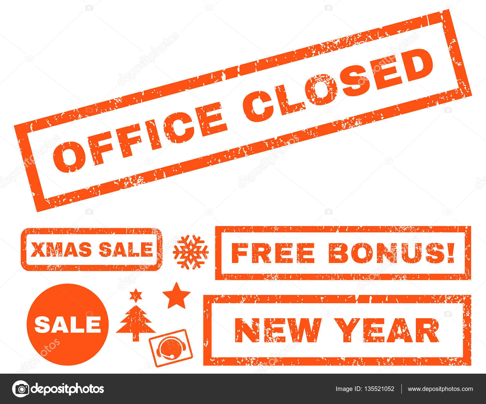 office closed rubber seal stamp watermark with bonus banners for christmas and new year sales caption inside rectangular banner with grunge design and
