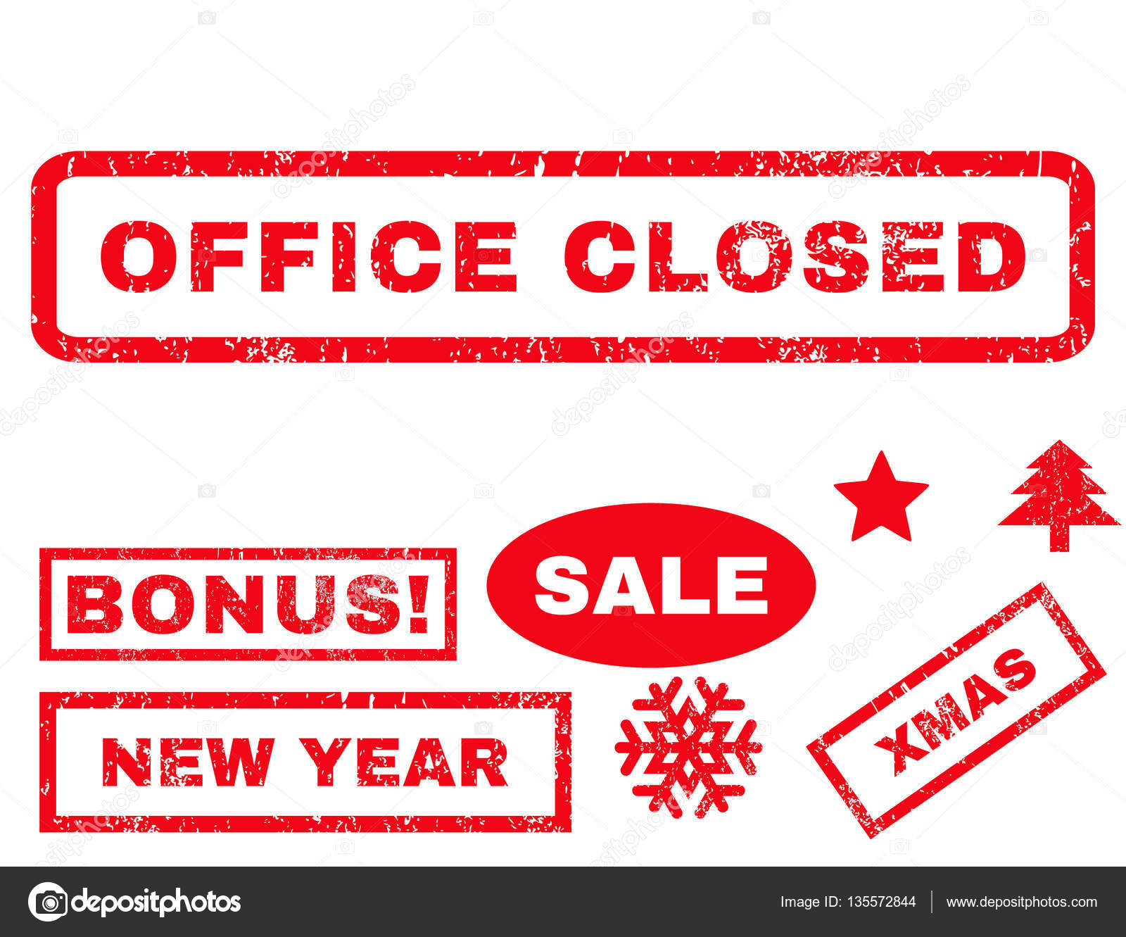 office closed rubber seal stamp watermark with additional images for christmas and new year sales tag inside rectangular banner with grunge design and