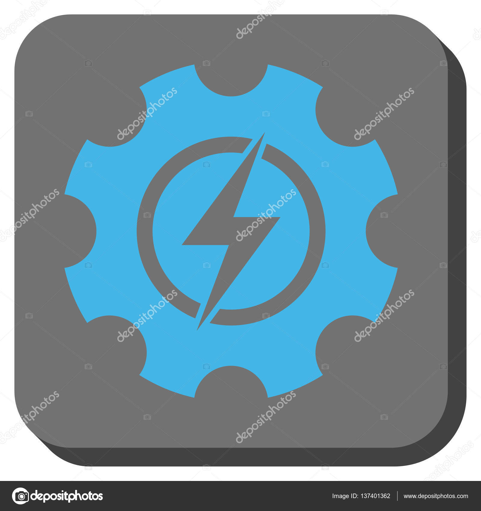 Electric Power Cog Gear Rounded Square Button — Stock Vector ...