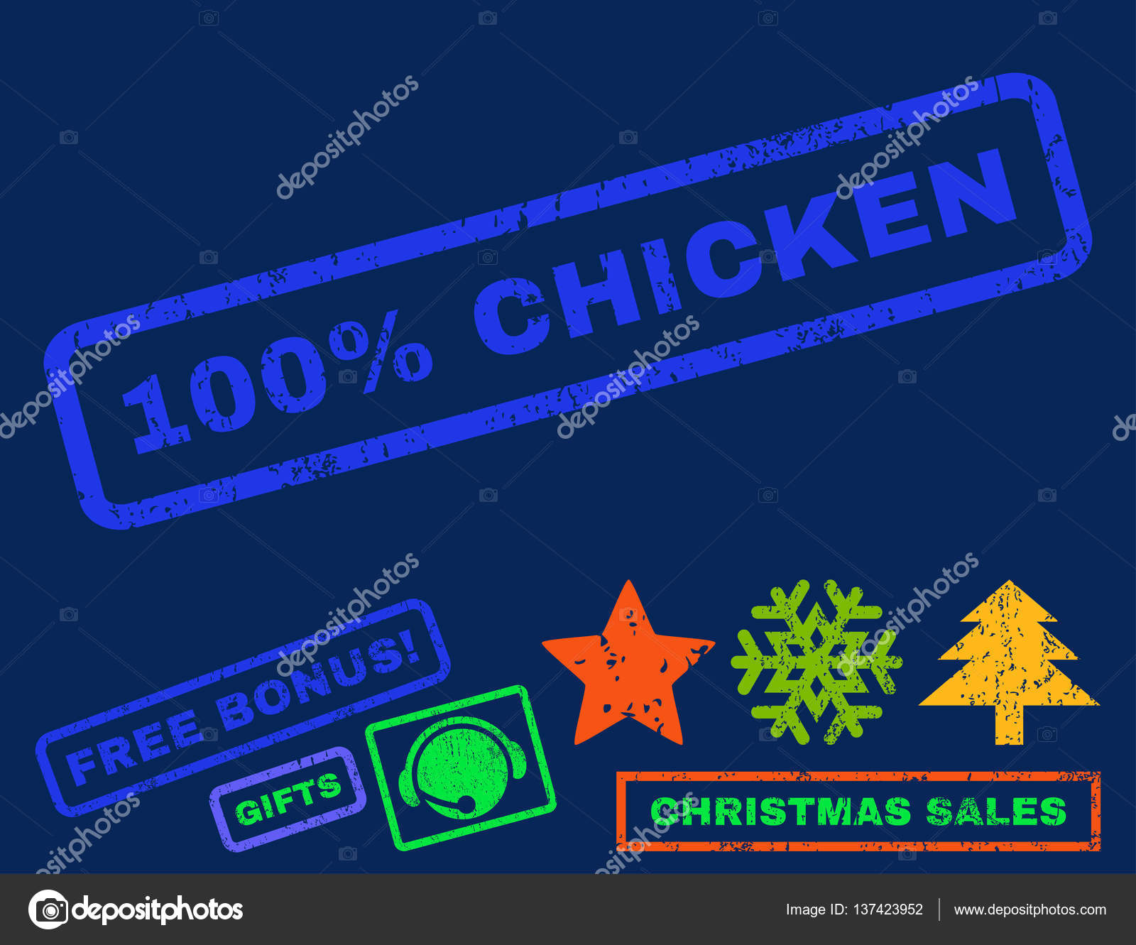 100 Percent Chicken Rubber Stamp Stock Illustration