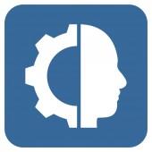 Cyborg Gear plochý čtvercový vektorové ikony