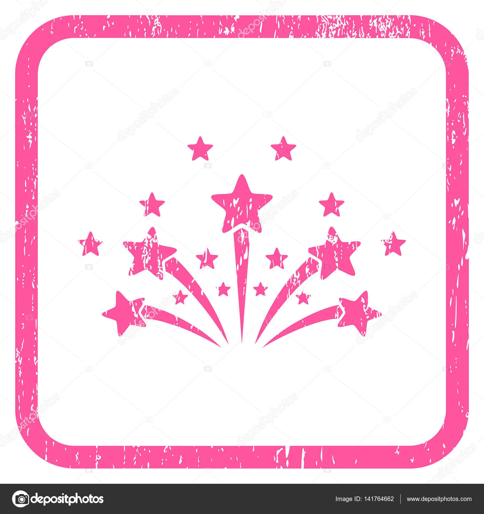 Star Fireworks Icon Rubber Watermark — Stock Vector