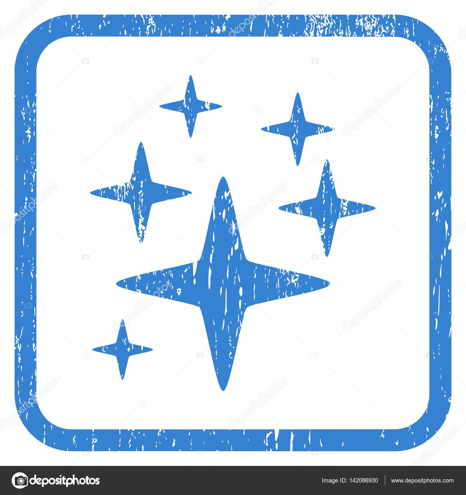 Sparkle Stars Icon Rubber Watermark — Stock Vector