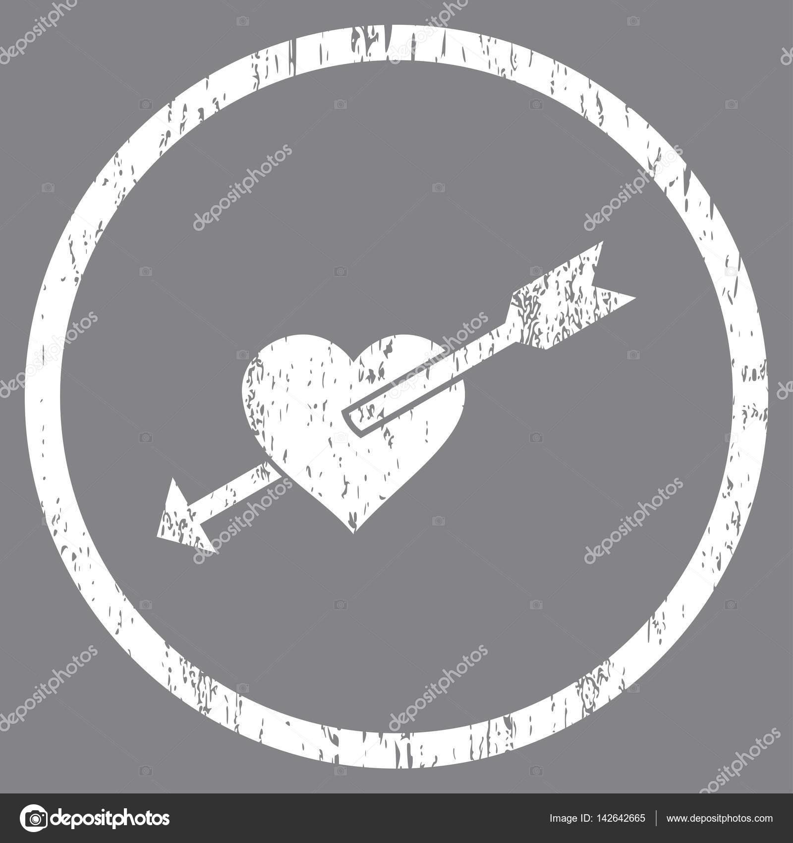Heart Arrow Rounded Grainy Texture Icon — Stock Vector