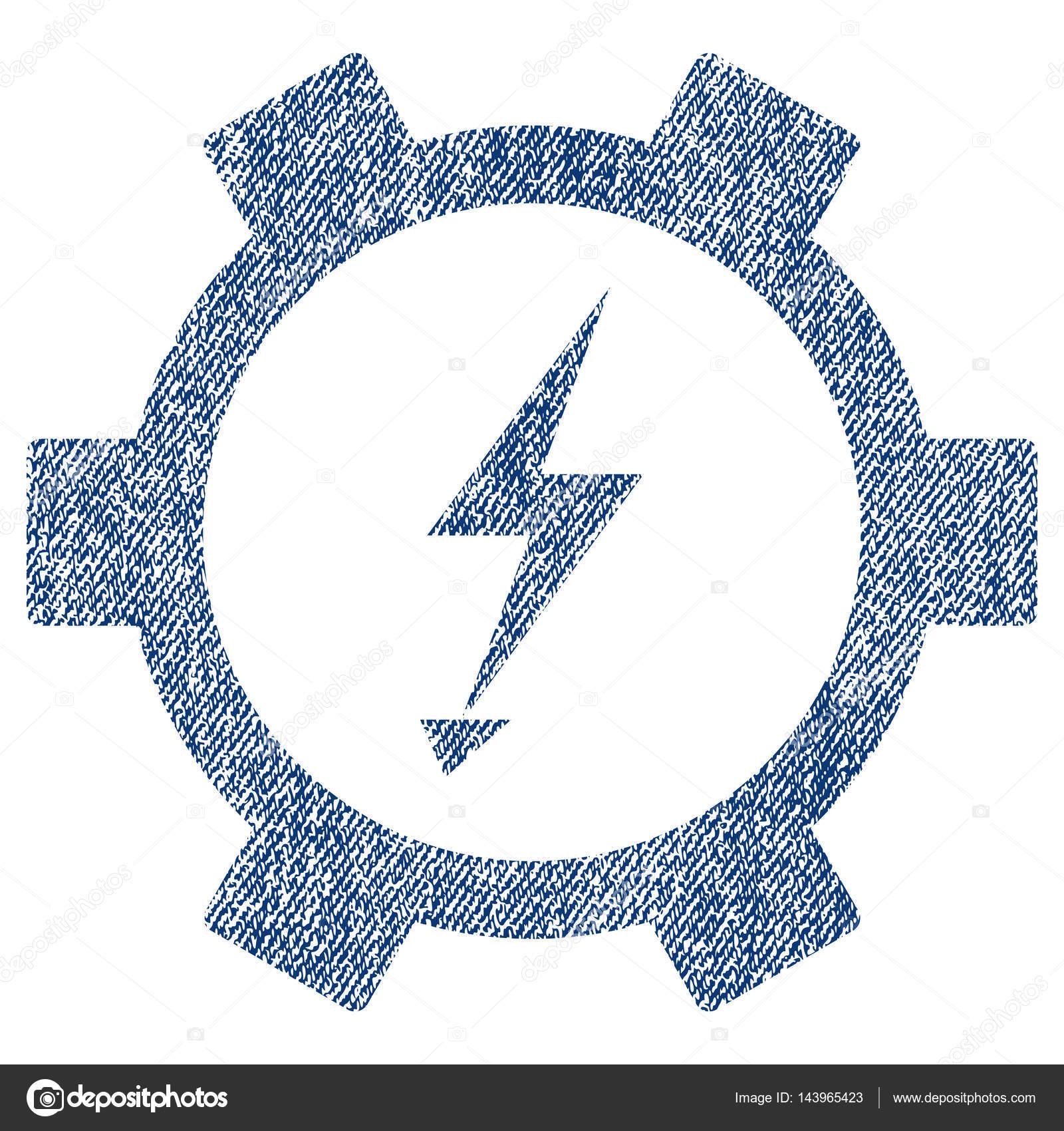 Elektrische Energie Zahnrad Stoff strukturiert Symbol — Stockvektor ...
