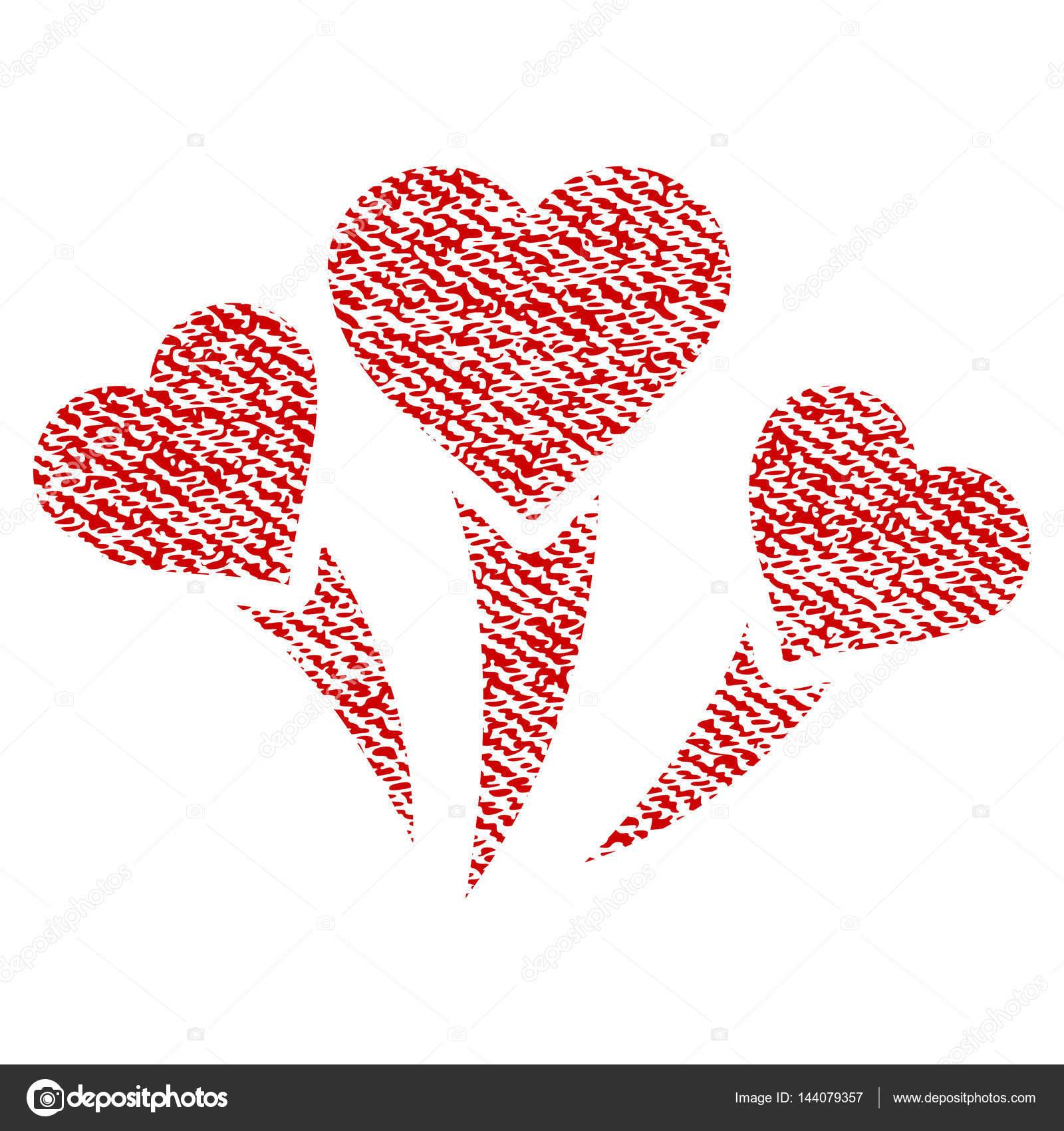 Amor Corazon Fuegos Artificiales Tela Textura Icono Vector De