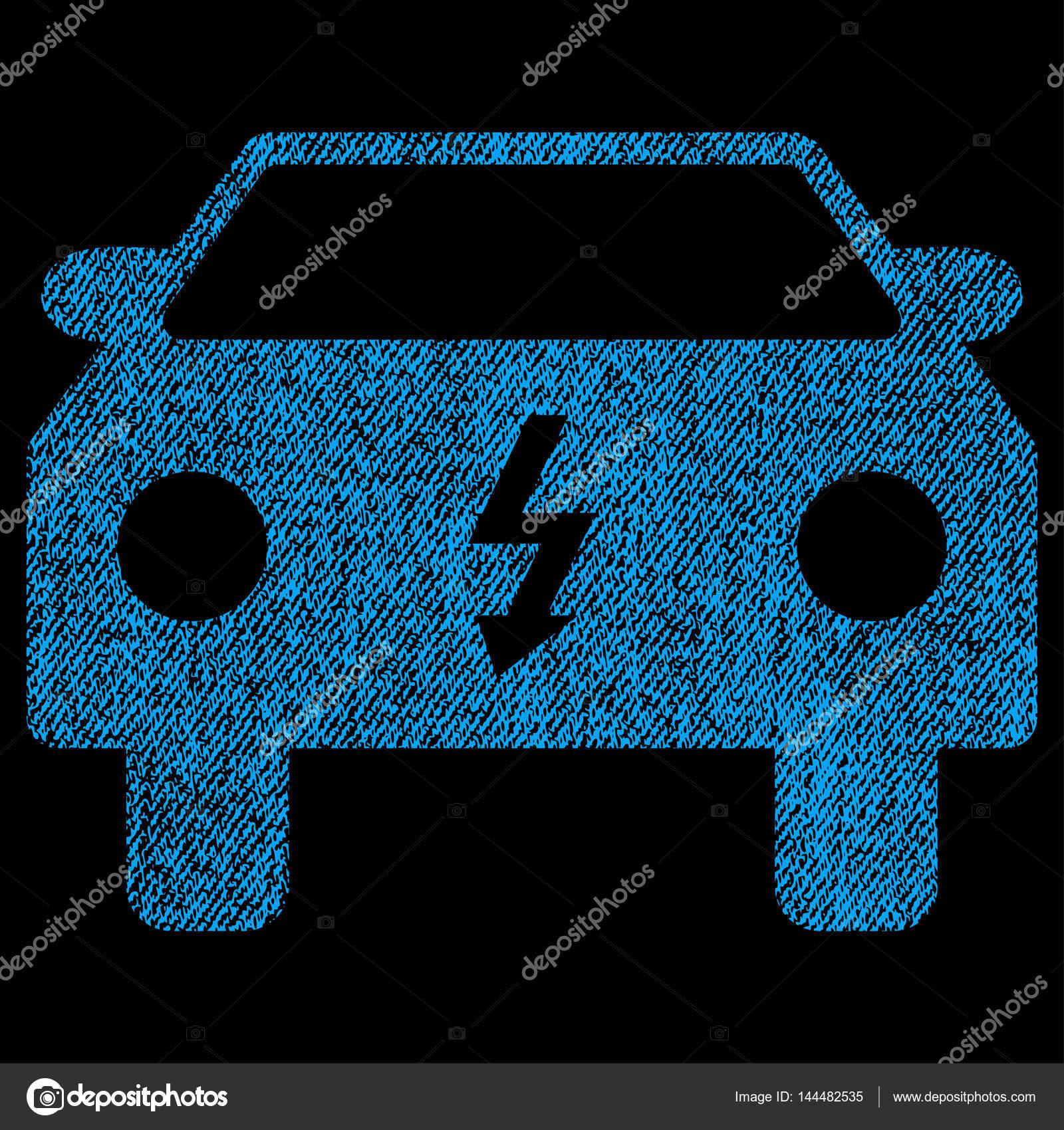 Elektro-Auto Stoff strukturierte Symbol — Stockvektor ...