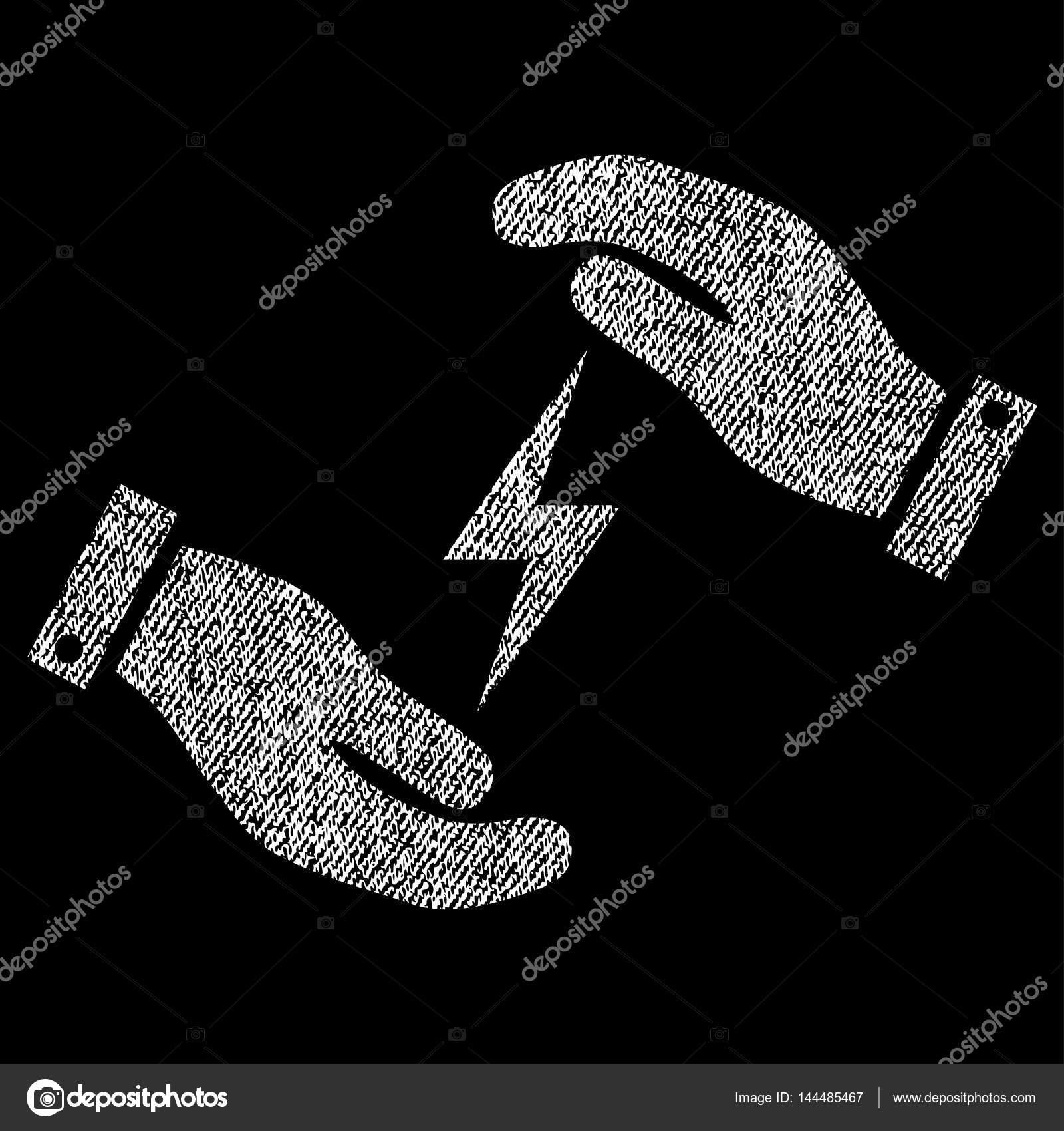 Stromversorgung Pflege Hände Stoff strukturiert Symbol — Stockvektor ...