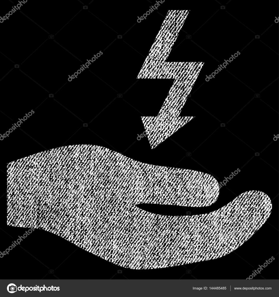 Stromversorgung Hand Stoff strukturiert Symbol — Stockvektor ...