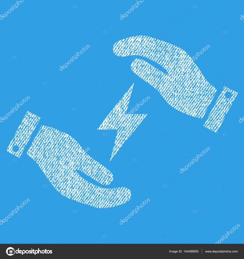 Strom Versorgung Hände Stoff strukturiert Symbol — Stockvektor ...