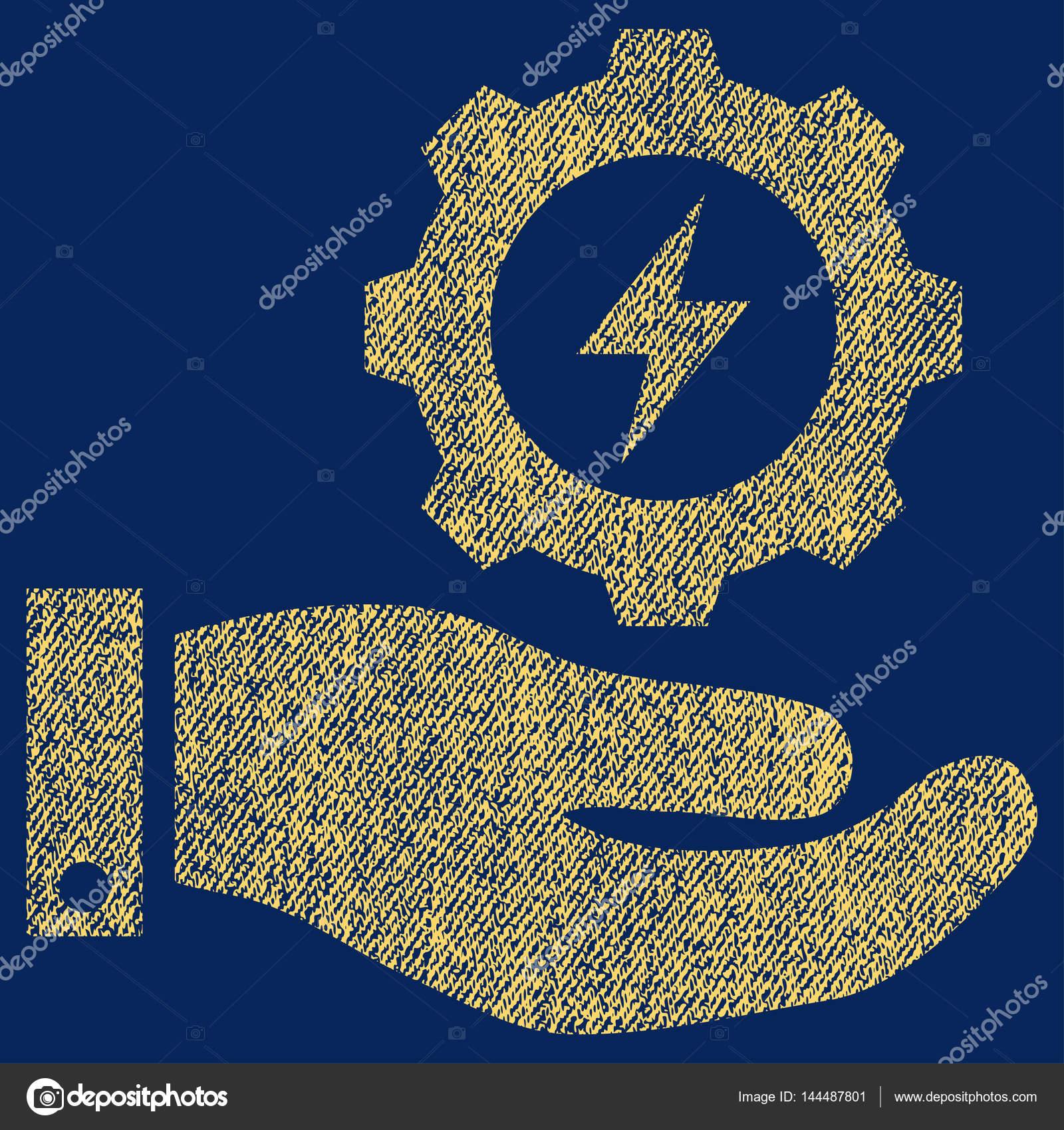 Elektrizität Getriebe Service Hand Stoff strukturiert Symbol ...