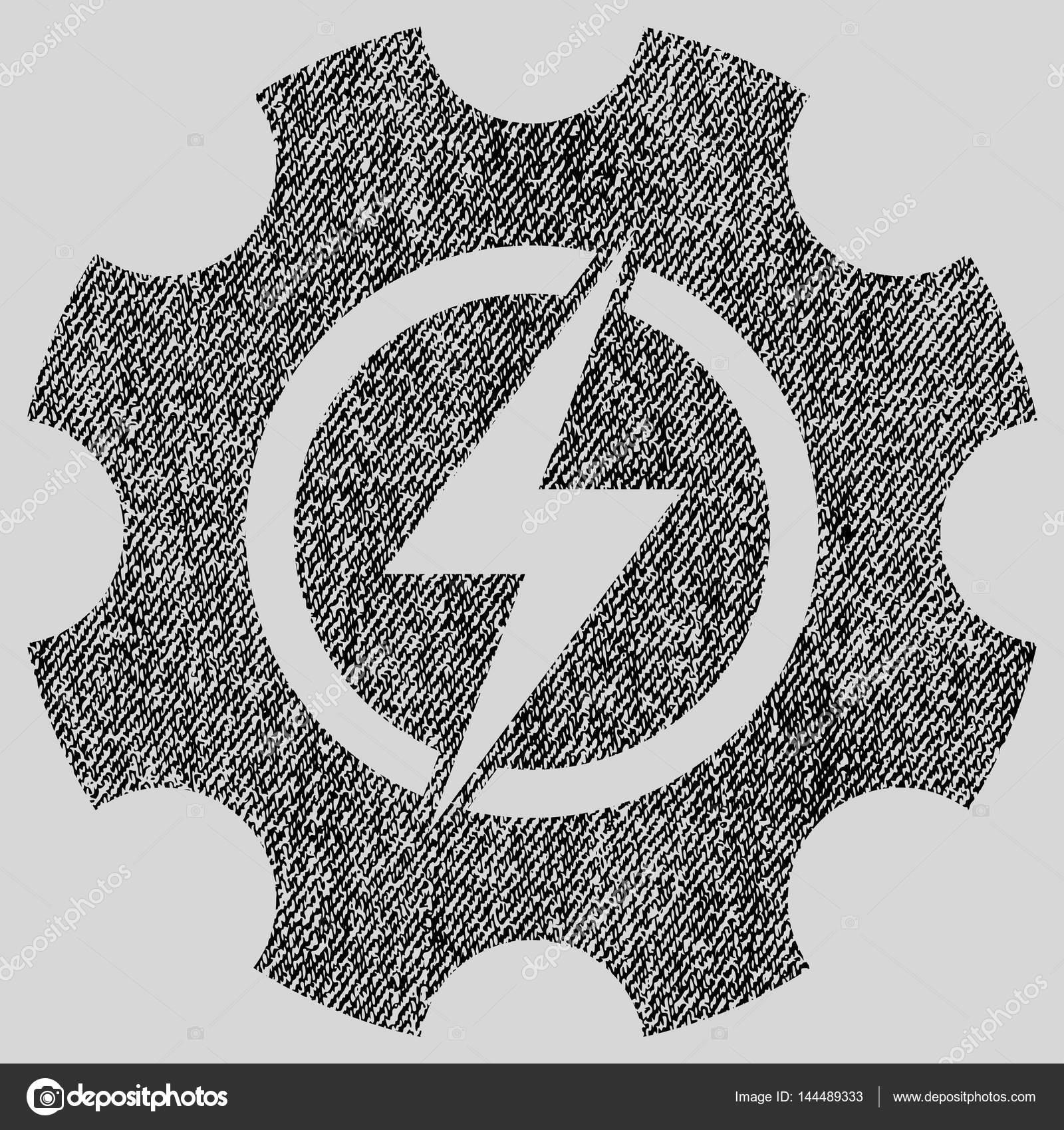 Elektrische Leistung Zahnrad Gear Stoff strukturiert Symbol ...