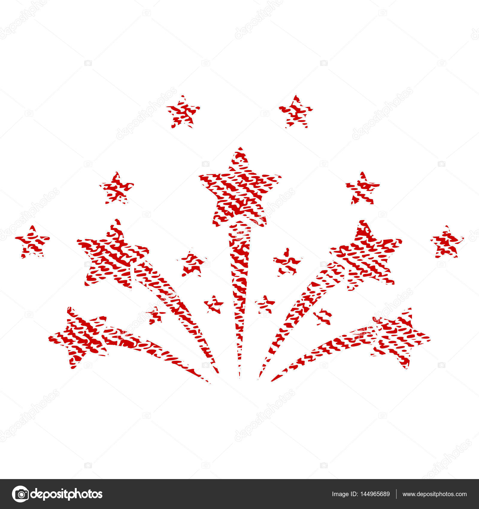 Fuegos Artificiales Estrellas Icono Con Textura De Tela Vector De