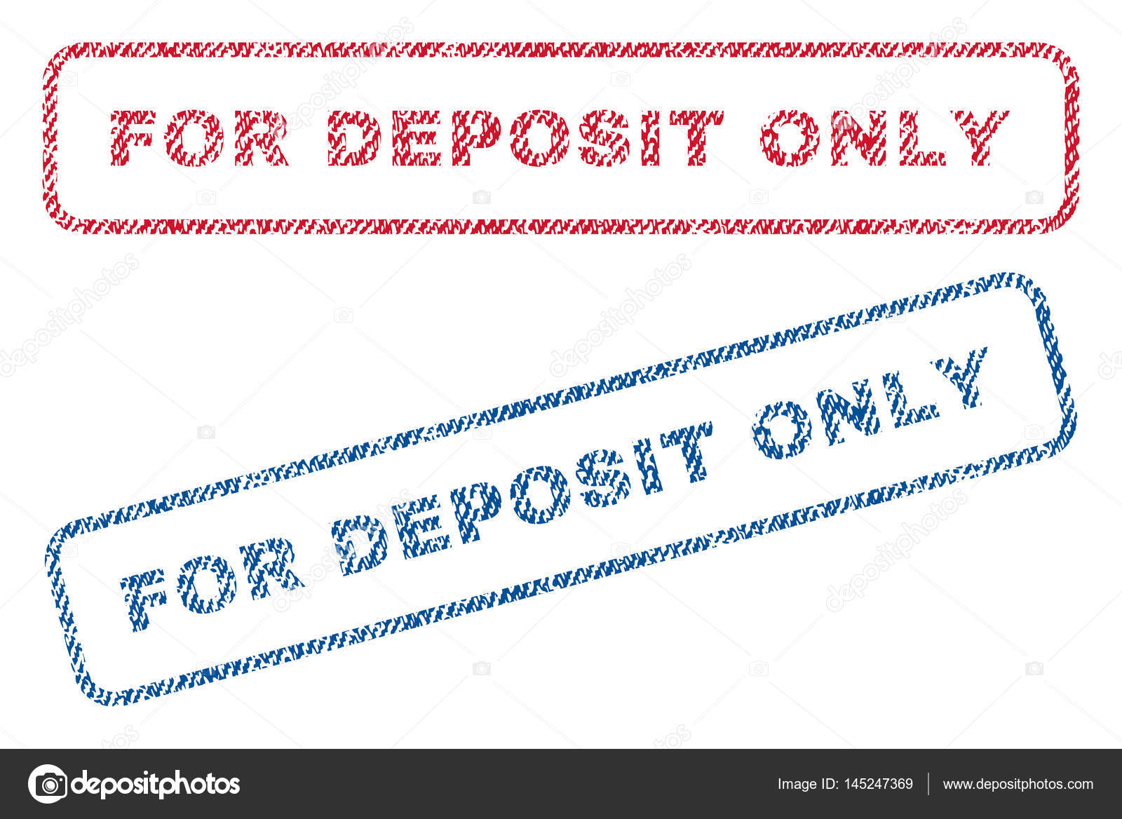 For Deposit Only Textile Stamps Stock Vector