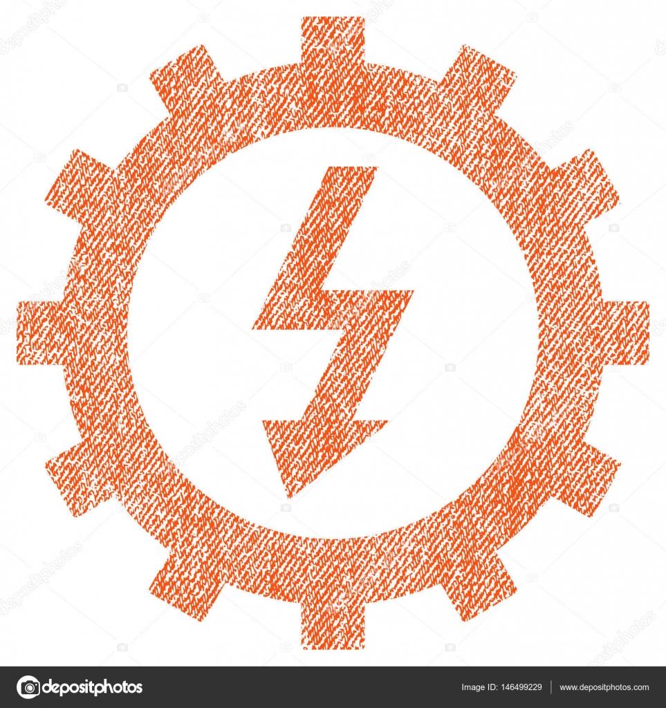 Elektrische Energie Cog Wheel Stoff strukturiert Symbol ...