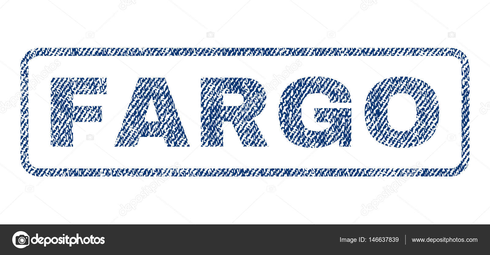 Fargo Text Textile Seal Stamp Watermark Blue Jeans Fabric Vectorized Texture Vector Tag Inside Rounded Rectangular Shape Rubber Sticker With Fiber
