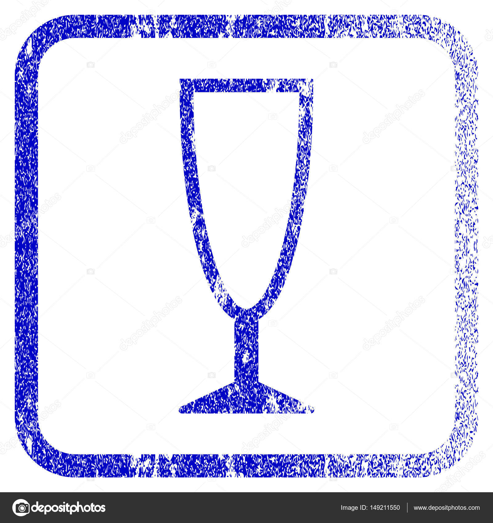 Leere Weinglas gerahmt strukturierte Symbol — Stockvektor ...