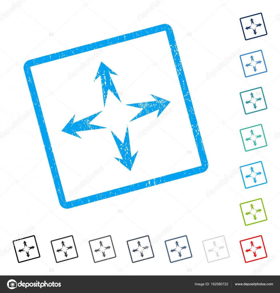 Expand Arrows Icon Rubber Watermark — Stock Vector