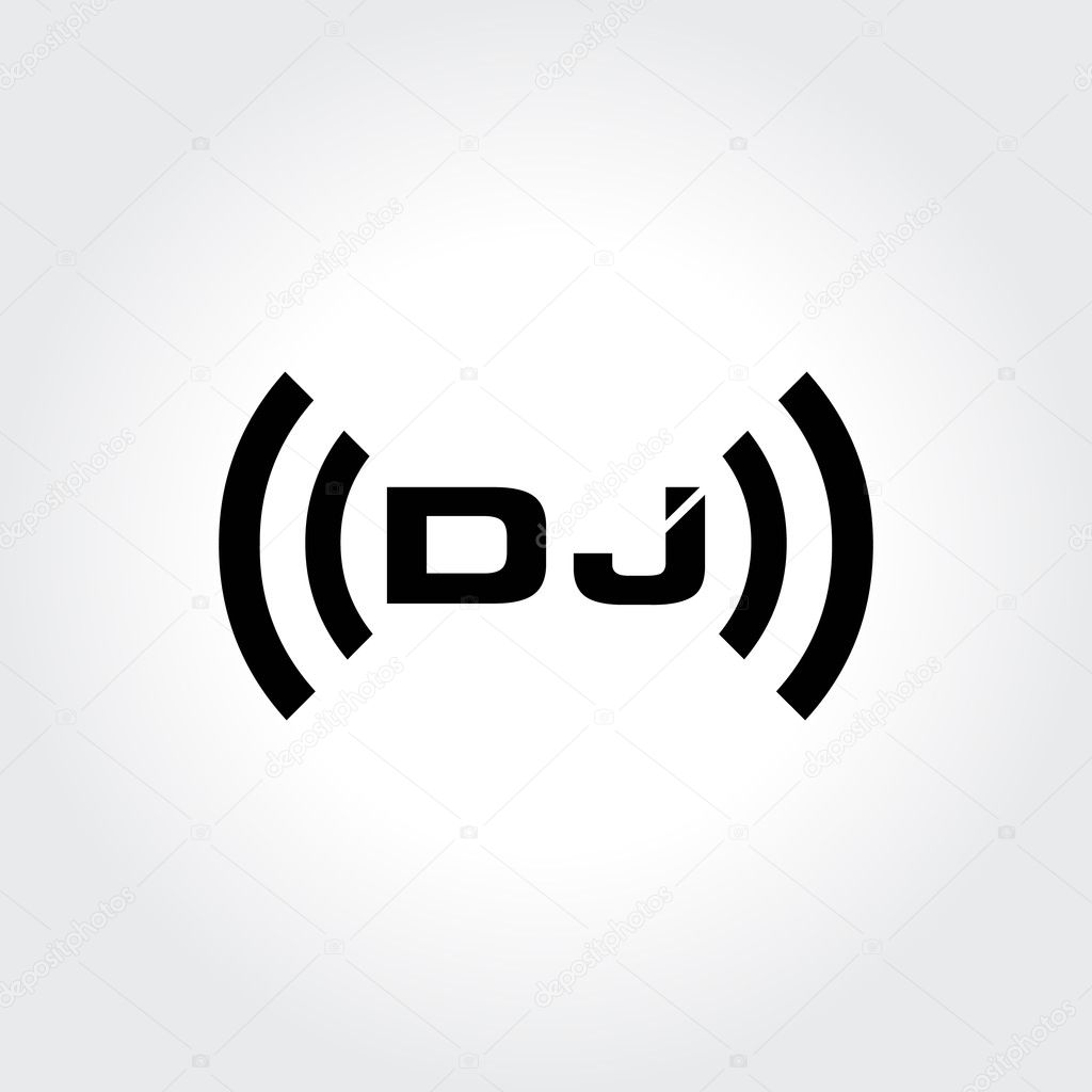 Super DJ logo design. Creative typography treatment in black and white  UP24
