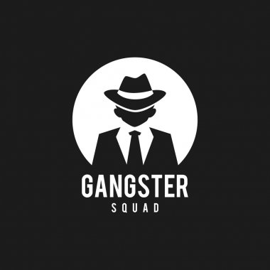 Gangsters silhouette in black and white