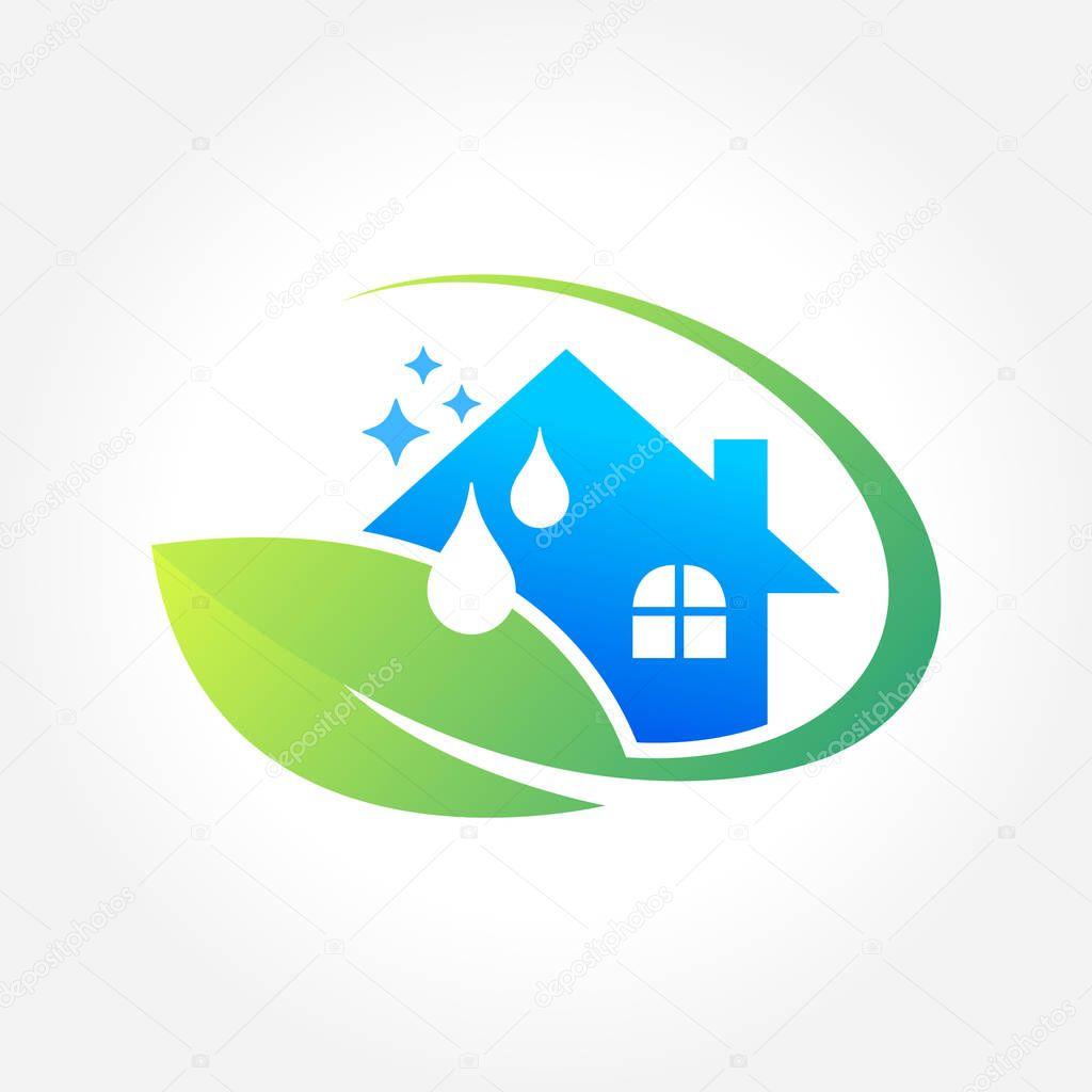 Création de logo de service affaires eco friendly concept pour lintérieur la maison et les capacités de nettoyage illustration