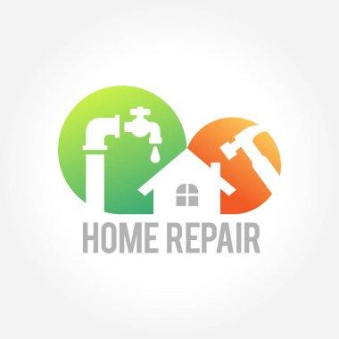 Home repair emblem and symbol of a house