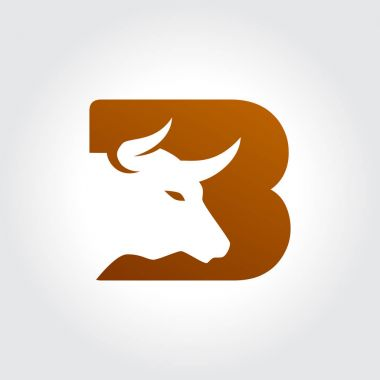 Letter B Symbol with Bull Head Silhouette Design
