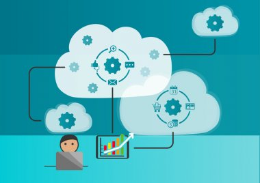 Cloud automation and internet of things concept as vector illustration