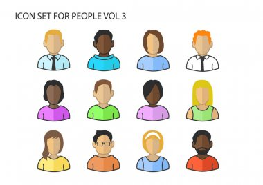 Various vector icons / symbols of diverse avatar heads and faces of different skin colors