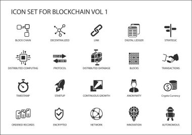 Blockchain vector icon set