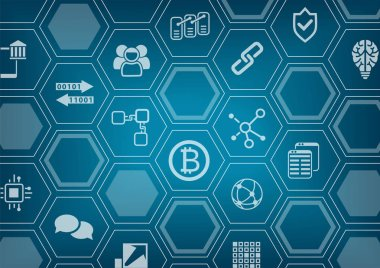 Bitcoin and blockchain blue vector background with polygon shapes